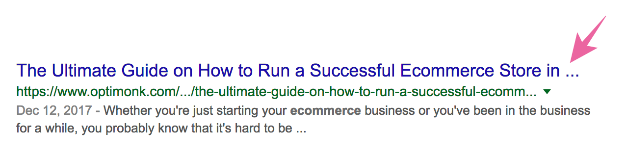 Cut off SEO Page title example