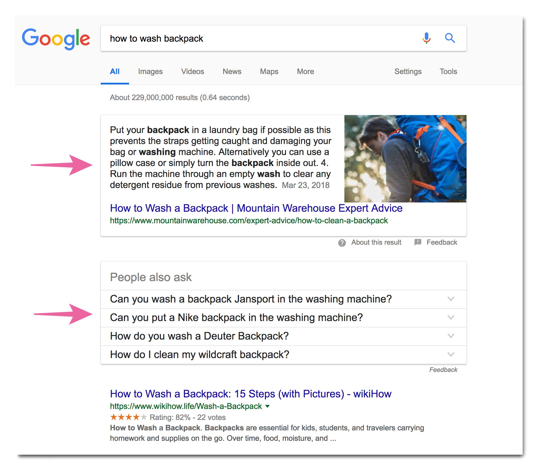 SERP features example