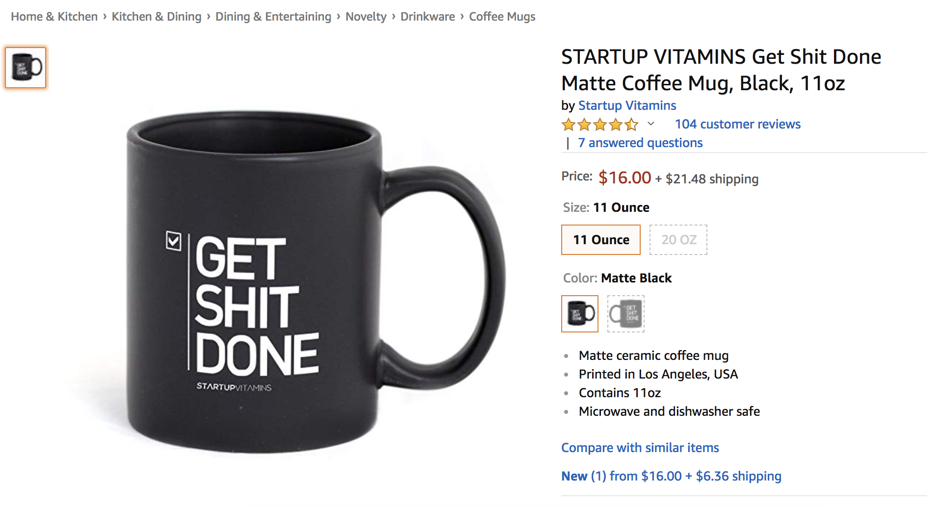 Startup Vitamins Product listing on Amazon example