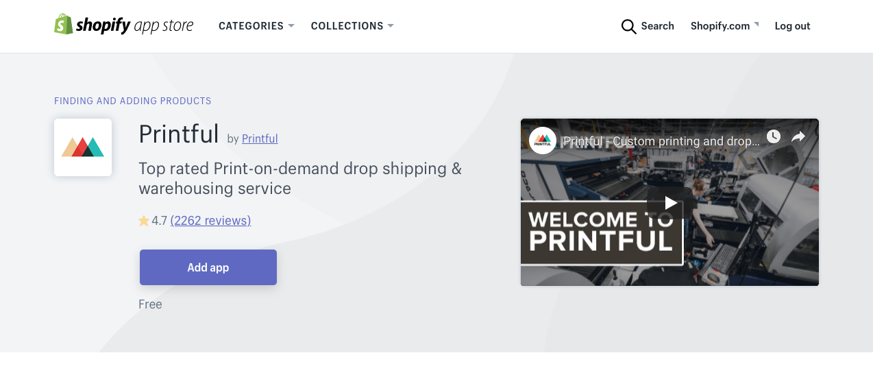 shopify add printful app