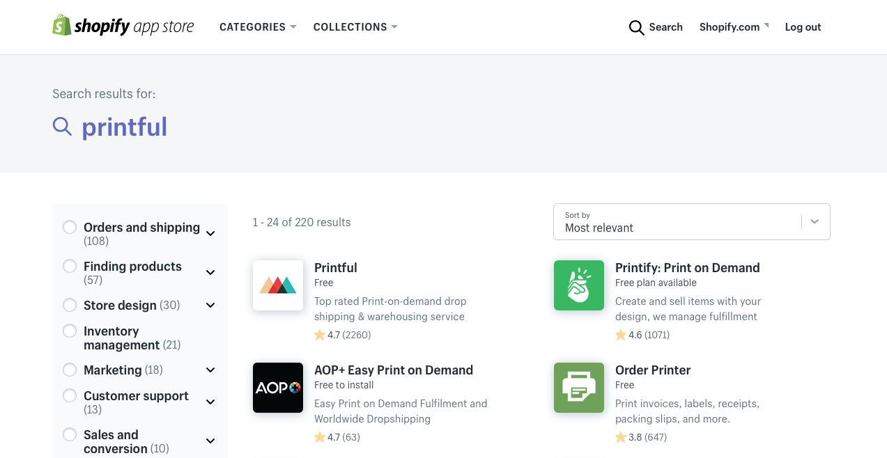 shopify printful app search