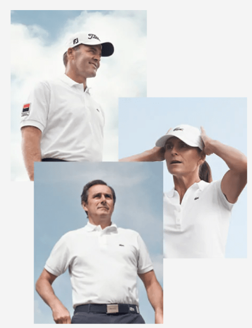 Golf players wearing Lacoste polo shirt