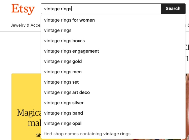 Etsy search suggestion example