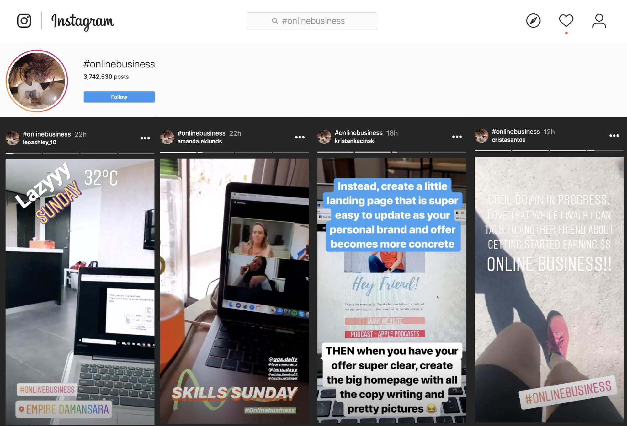online-business-hashtag-instagram-stories