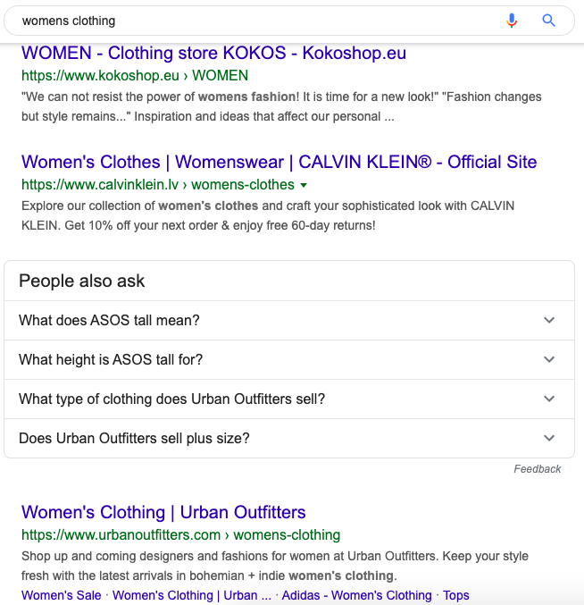 Women's clothing search on Google