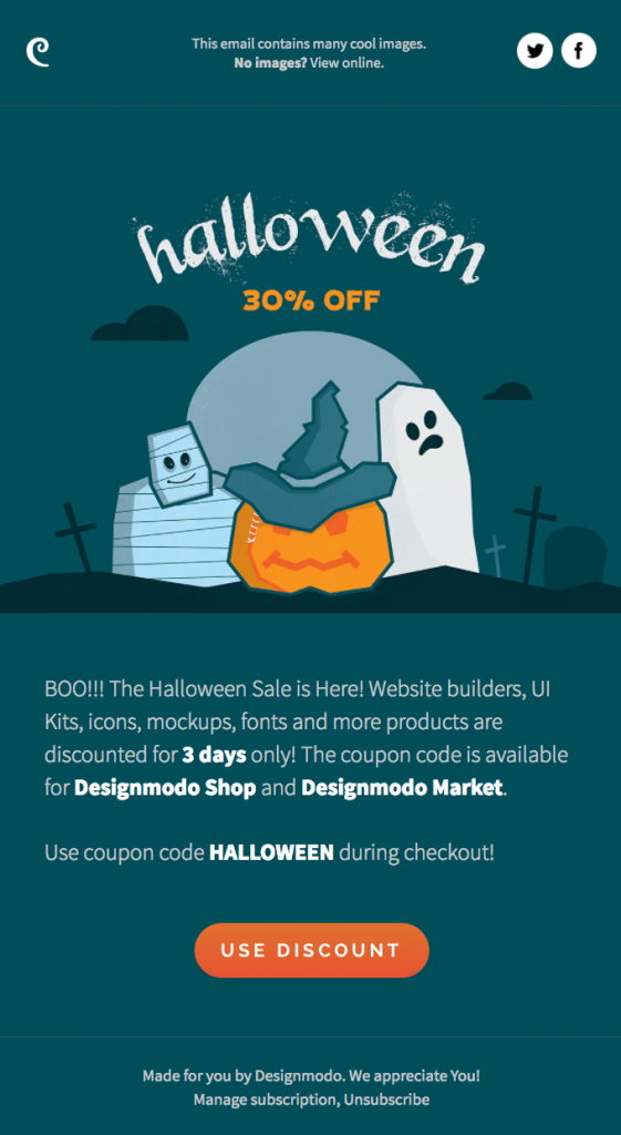 Halloween holiday email campaign by Designmodo
