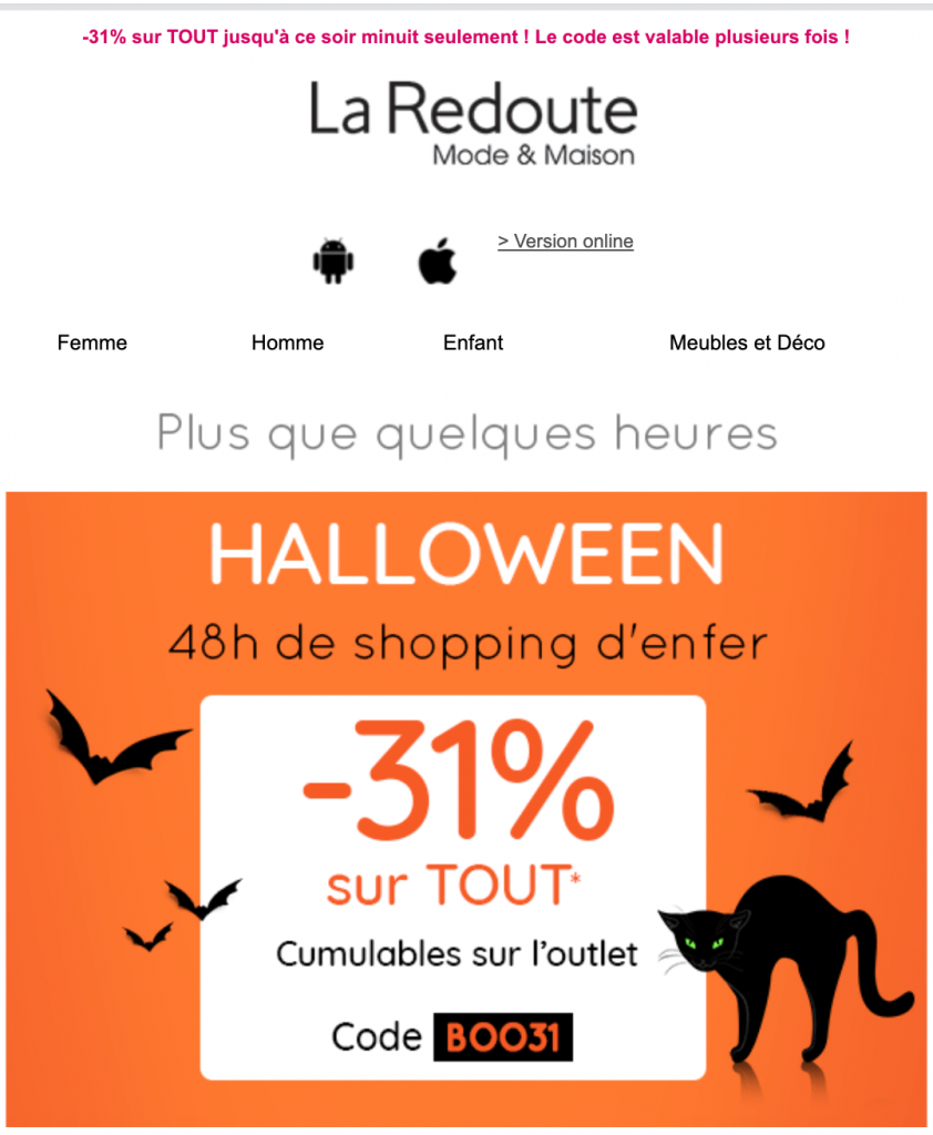 Campagne emailing La Redoute
