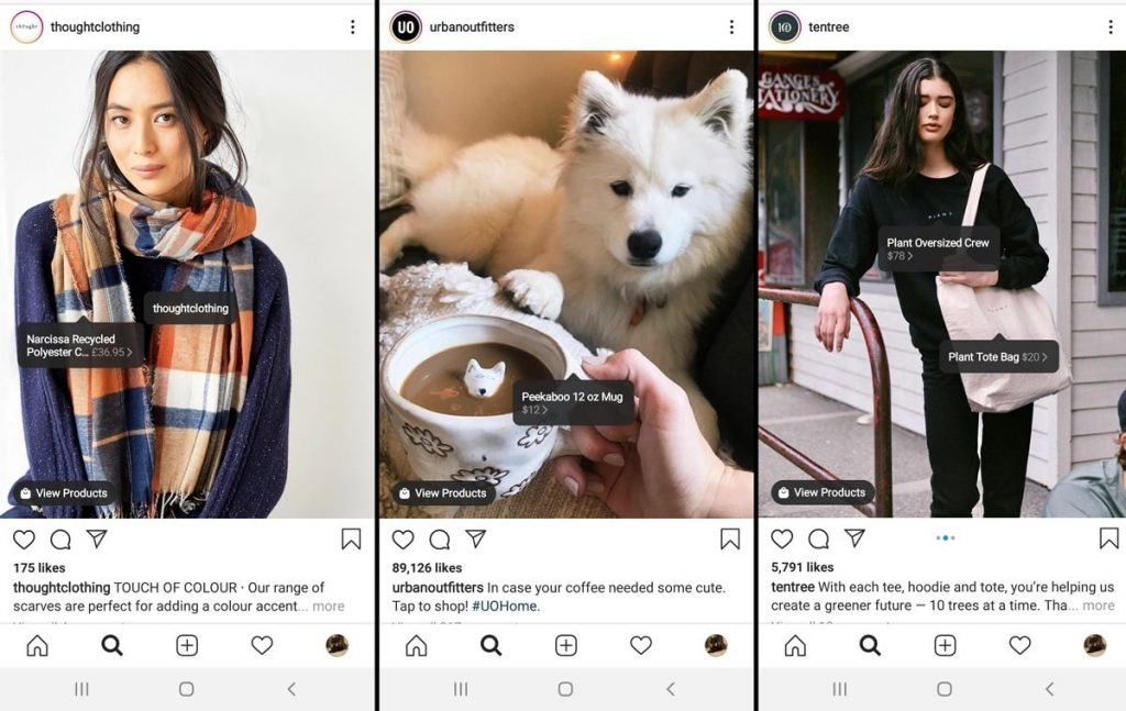 Shoppable Instagram examples