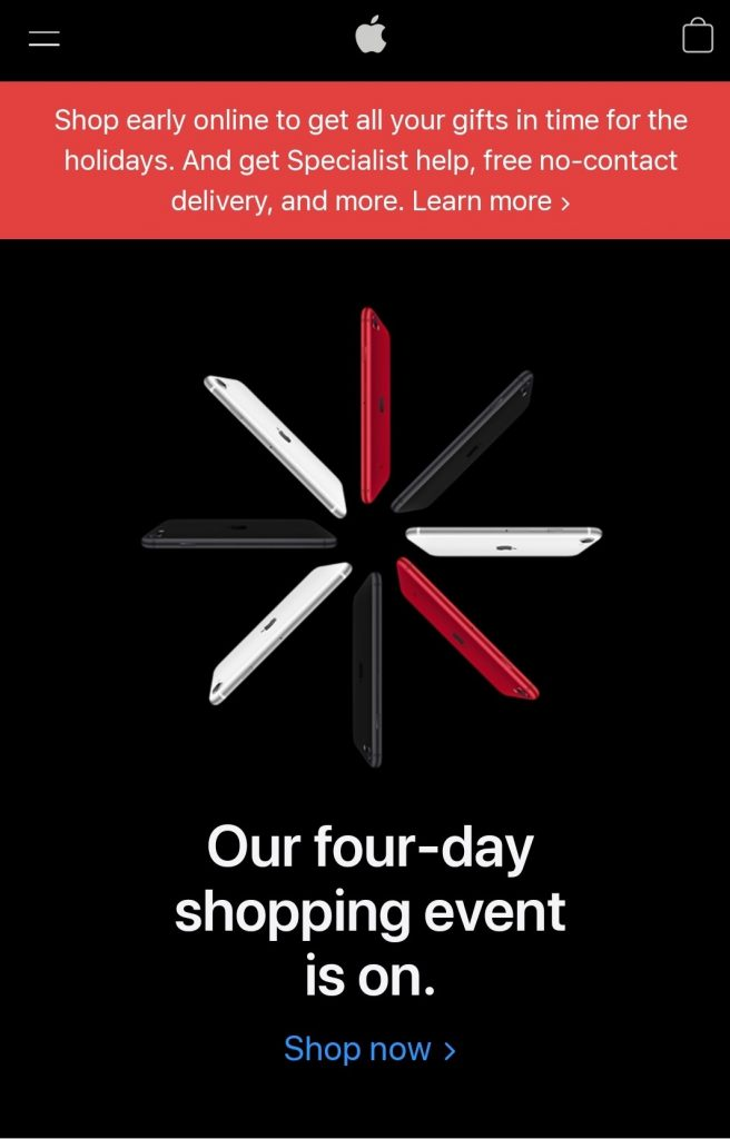 black friday marketing campaign 2020 by Apple