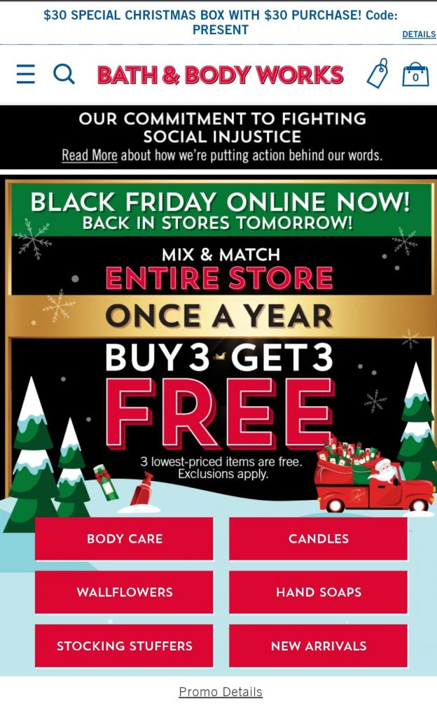 black friday marketing campaign by bath&body works in 2020