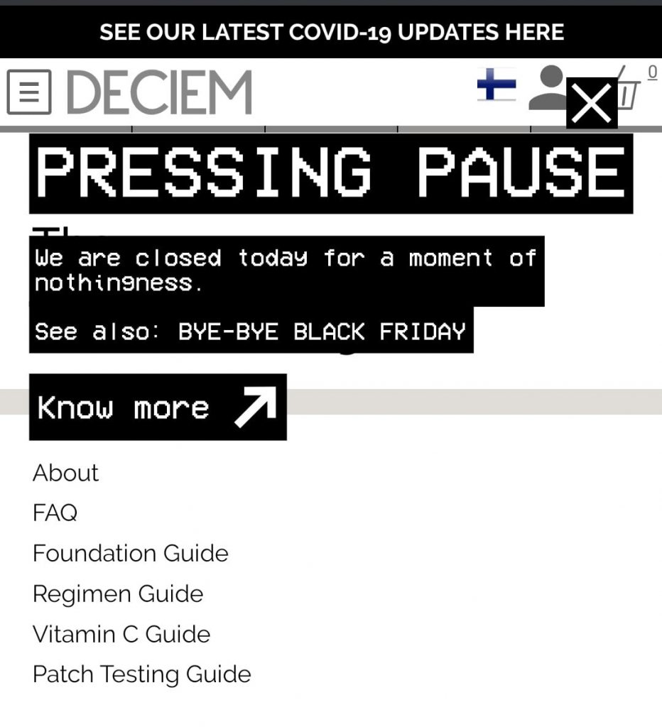 deciem black friday message 2020