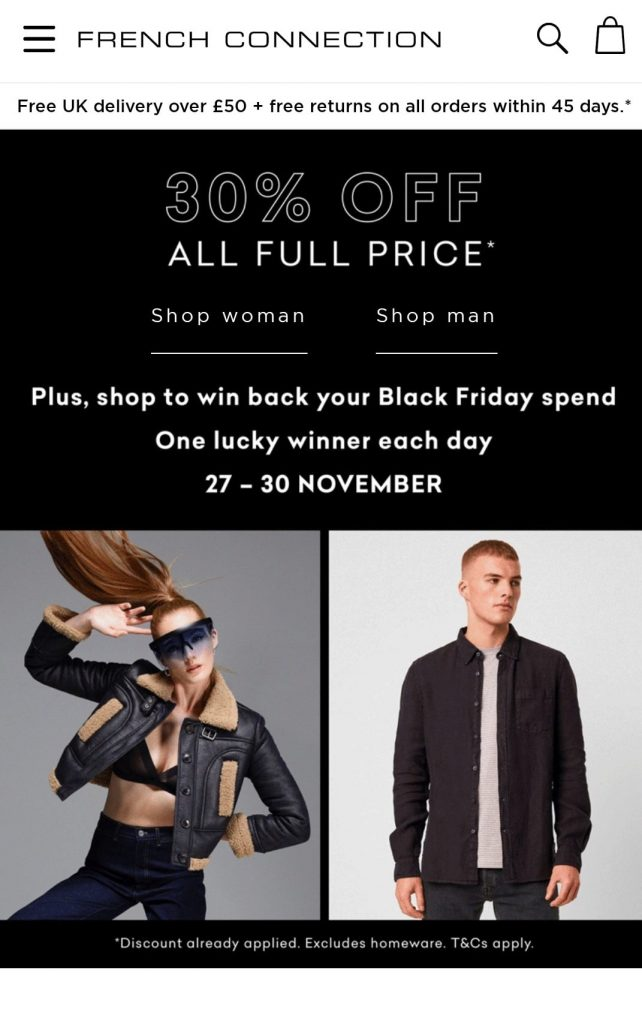 french connection black friday campaign 2020