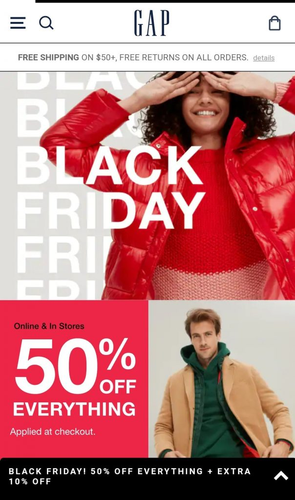 GAP black friday marketing campaign 2020