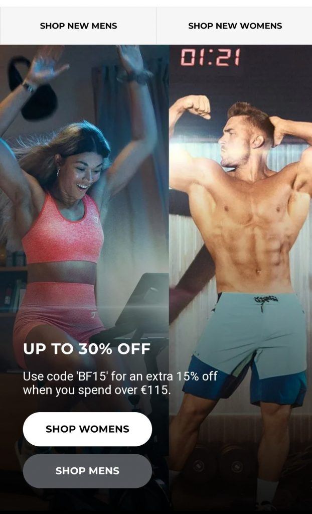 gymshark black friday marketing campaign 2020