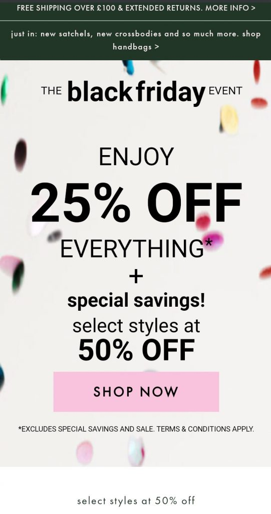 kate spade black friday marketing campaign 2020