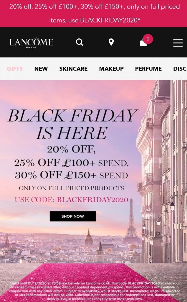 lancome black friday marketing campaign 2020