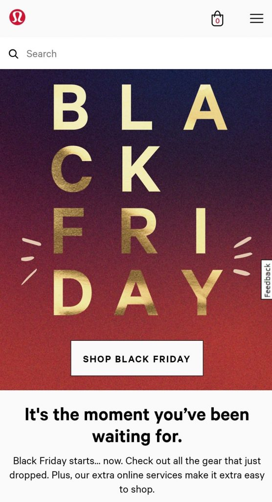 lululemon black friday marketing campaign 2020