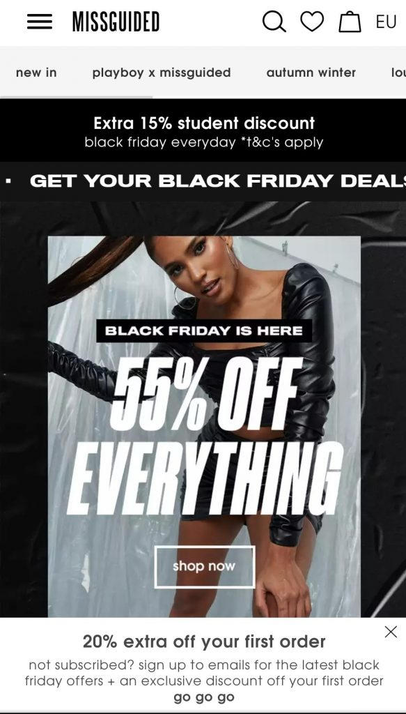 missguided black friday marketing campaign 2020