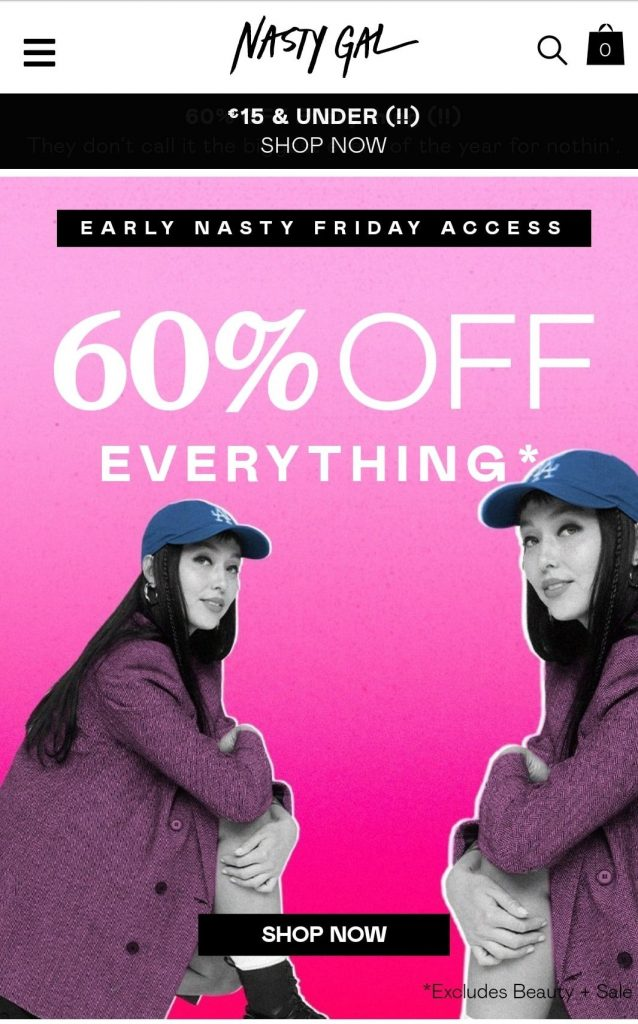 nasty gal black friday marketing campaign 2020