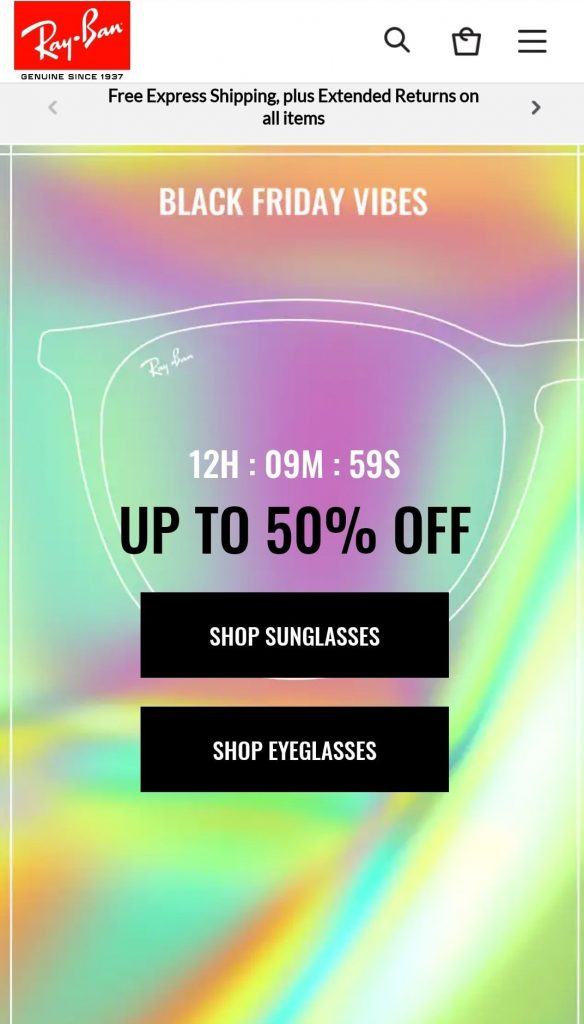 ray ban black friday marketing campaign 2020