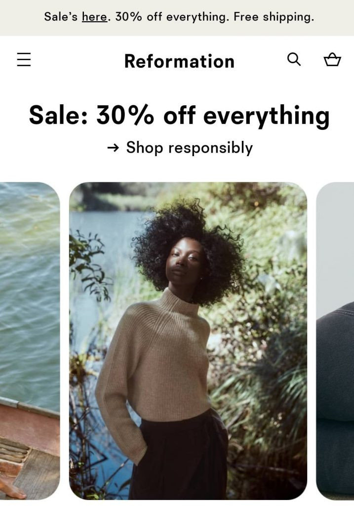 reformation black friday marketing campaign 2020