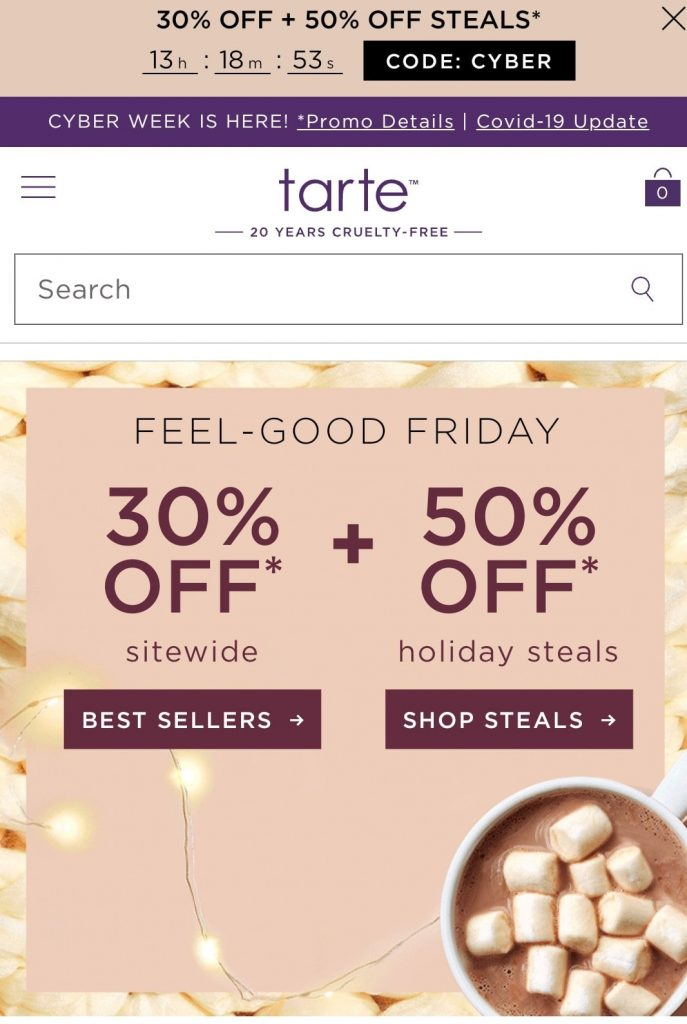 tarte black friday marketing campaign 2020