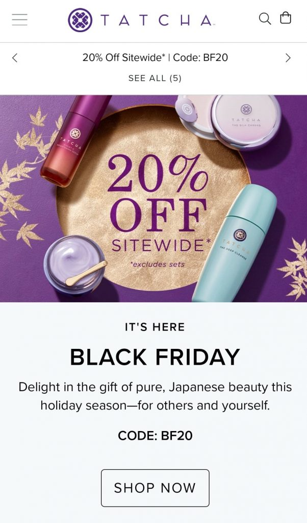 tatcha black friday marketing campaign 2020