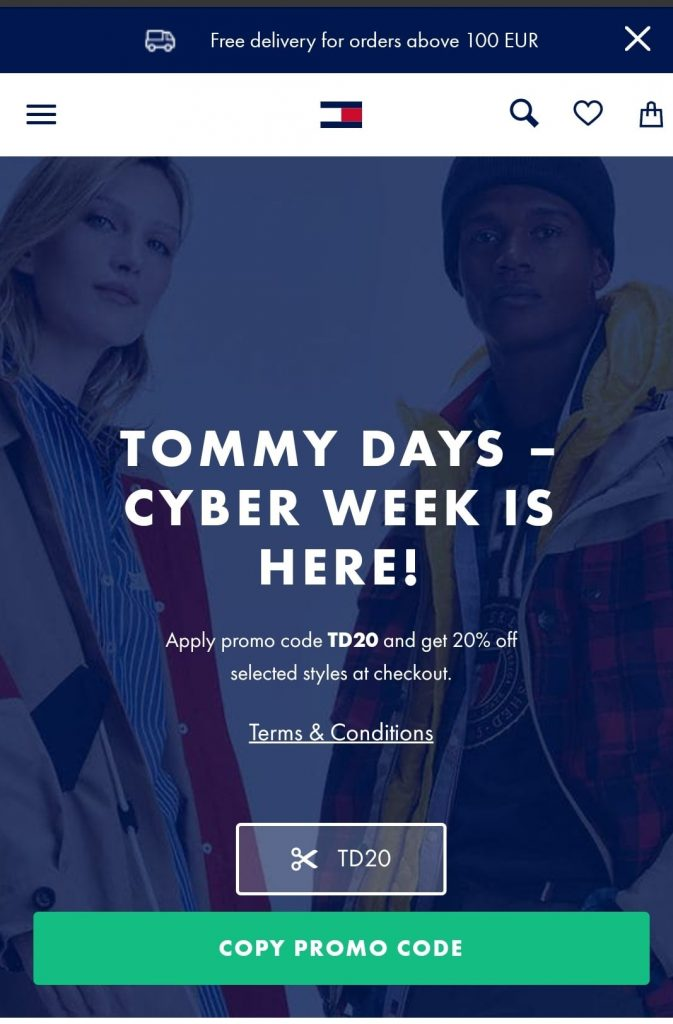 tommy hilfiger tommy days black friday marketing campaign 2020