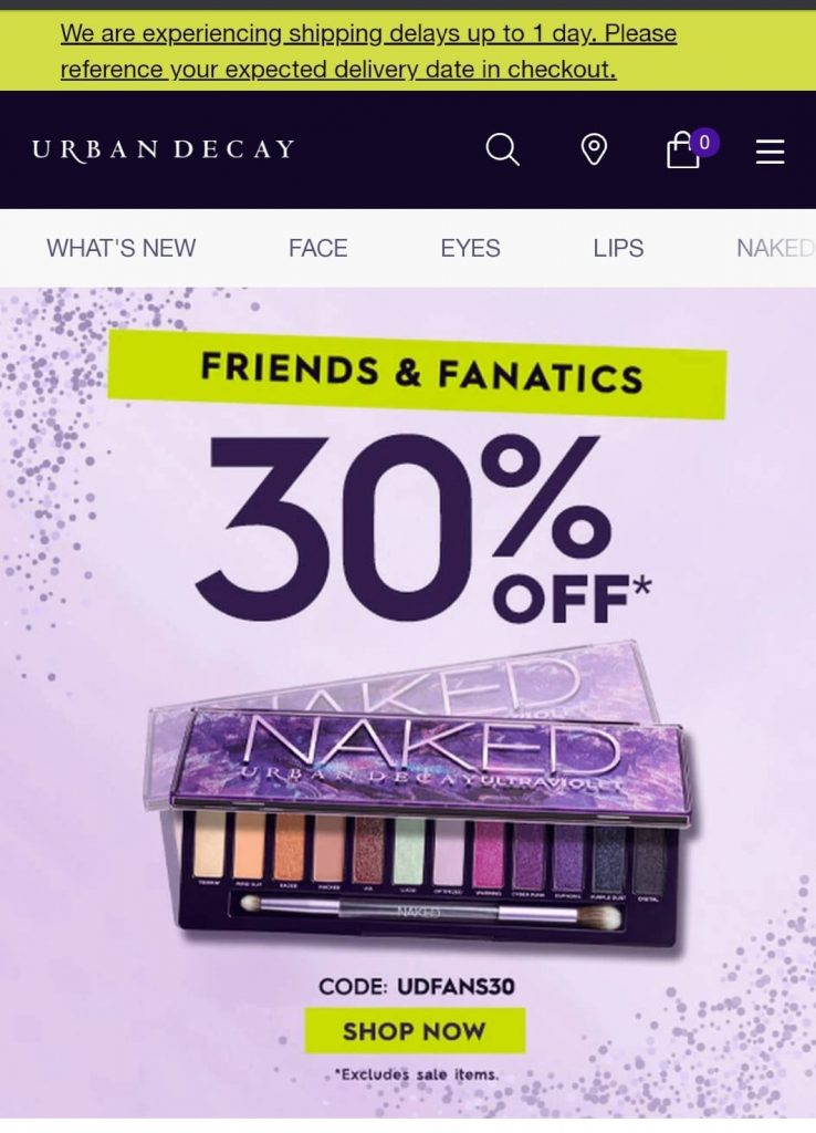 urban decay black friday marketing campaign 2020