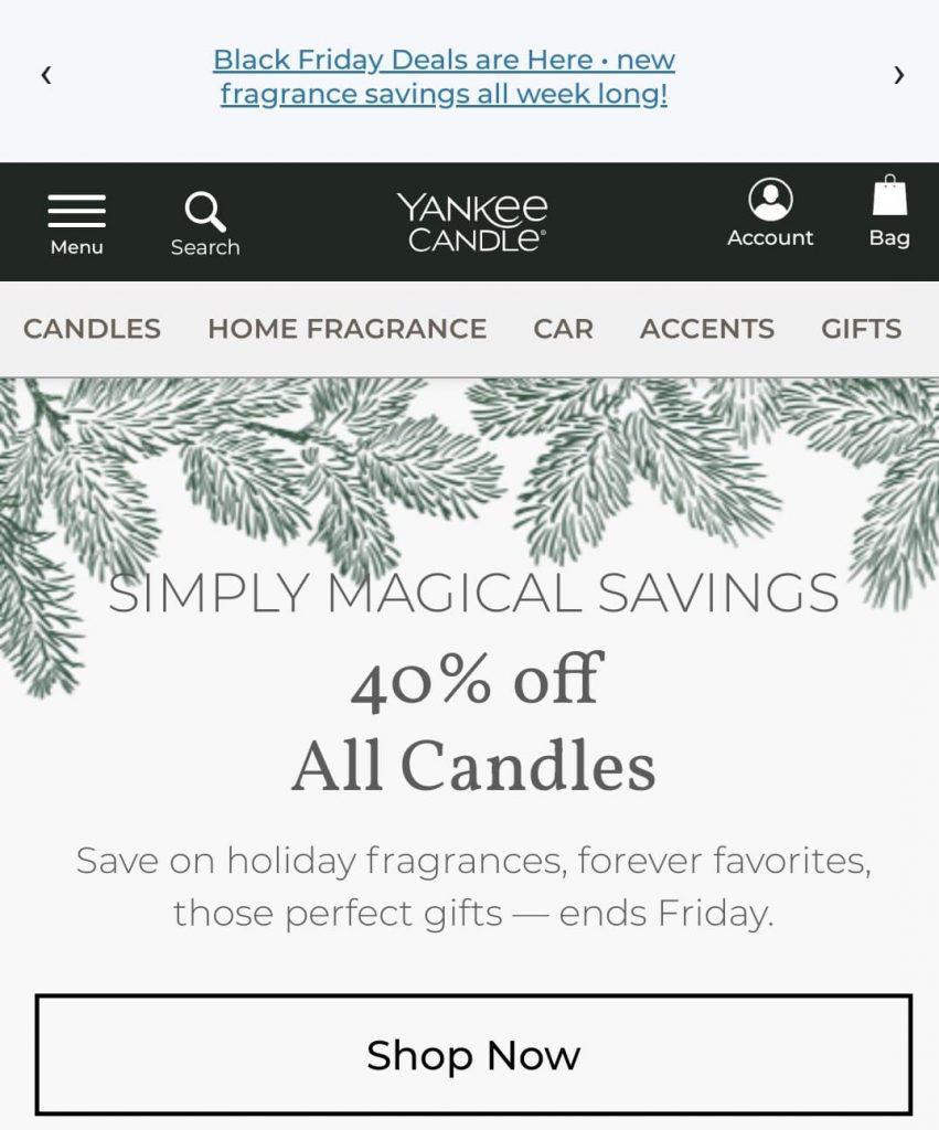 yankee candle black friday marketing campaign 2020
