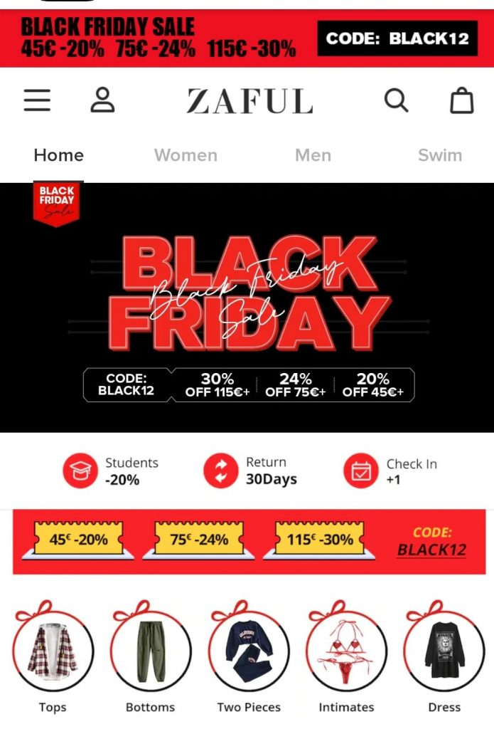 zaful black friday marketing campaign 2020