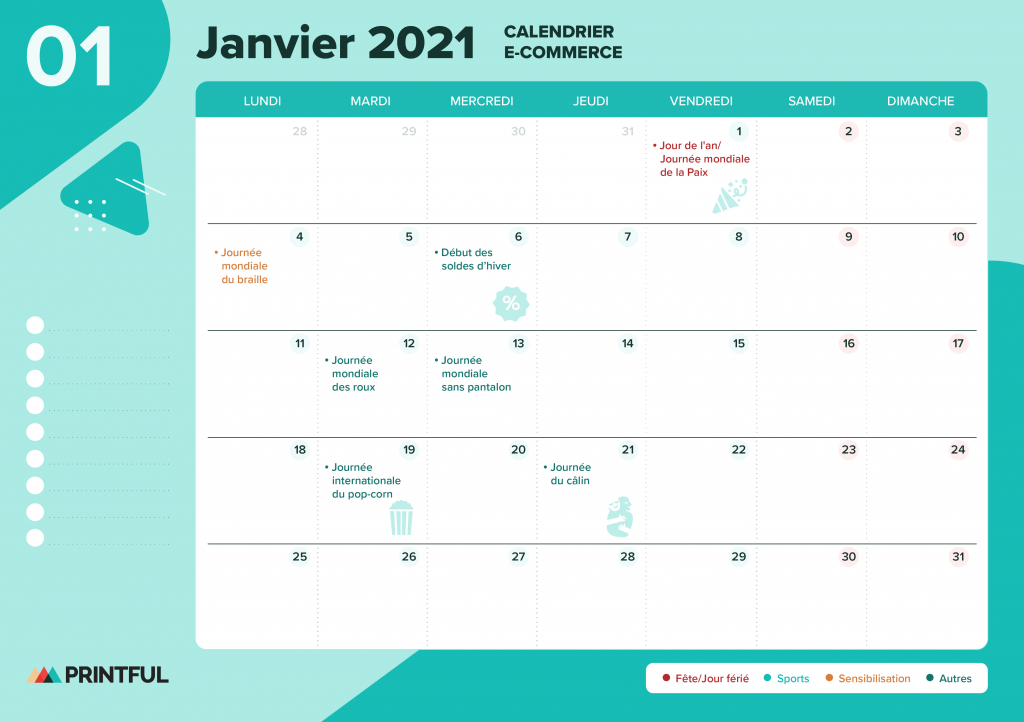 Calendrier marketing janvier 2021 : événements | Printful