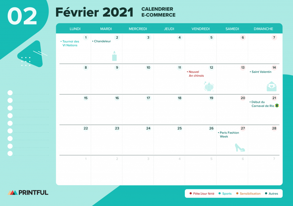 Calendrier marketing février 2021 : événements | Printful