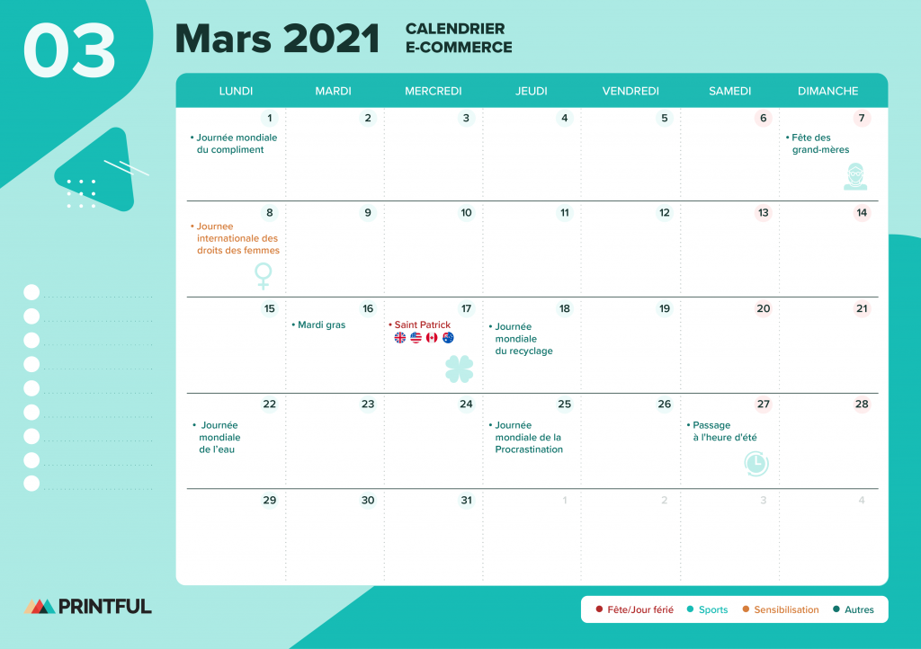 Calendrier marketing mars 2021 : événements | Printful
