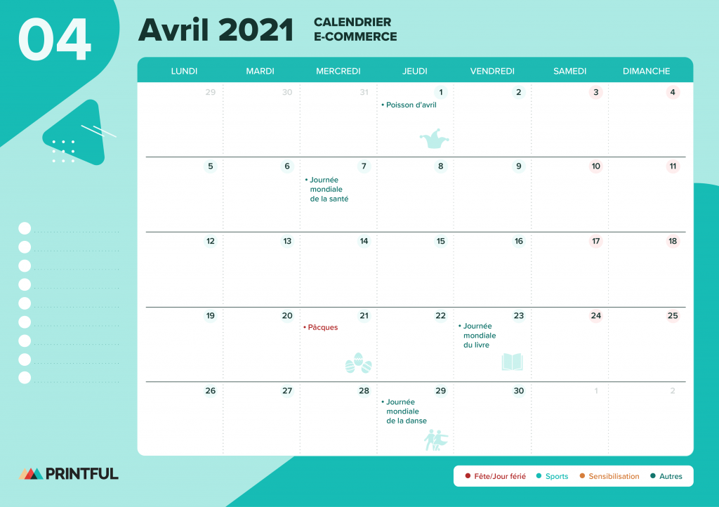Calendrier marketing avril 2021 : événements | Printful