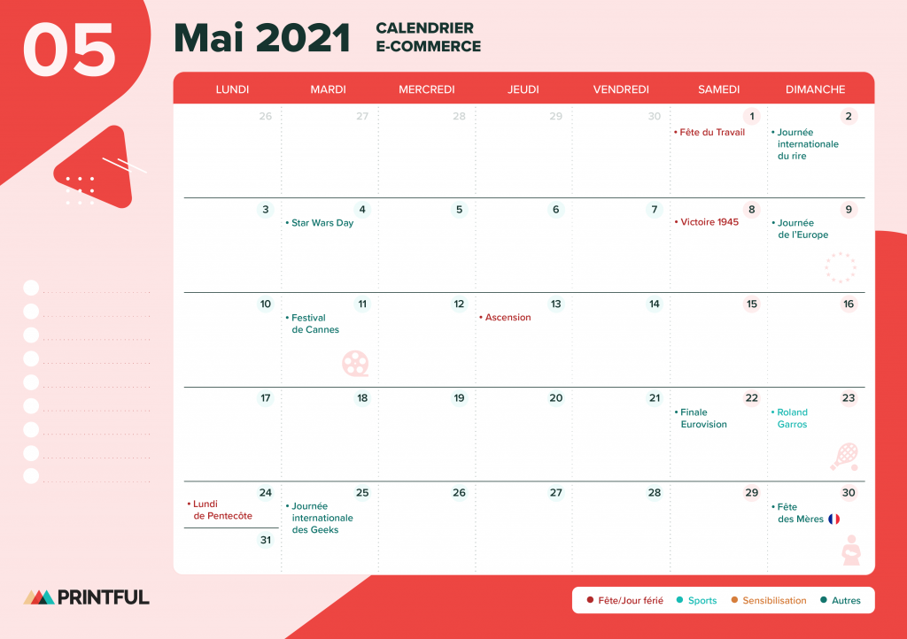 Calendrier marketing mai 2021 : événements | Printful