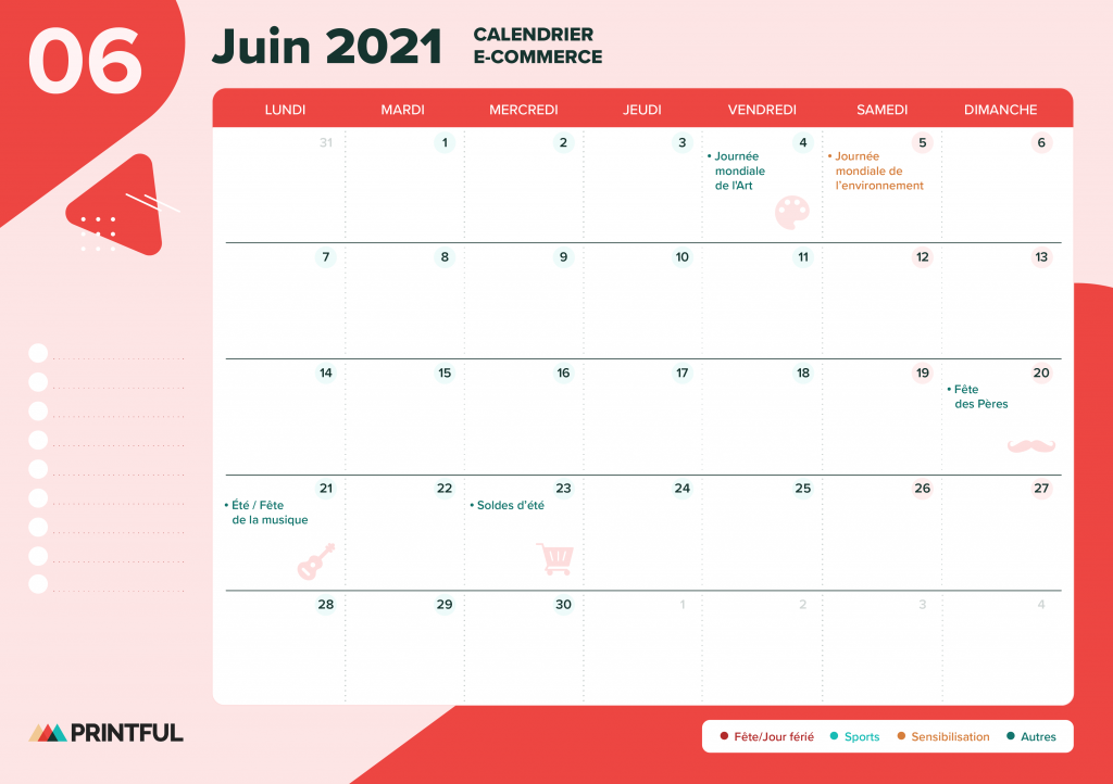 Calendrier marketing juin 2021 : événements | Printful