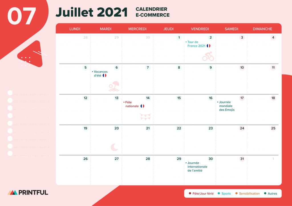 Calendrier marketing juillet 2021 : événements | Printful