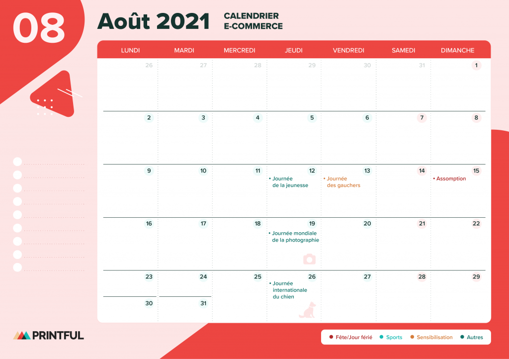 Calendrier marketing août 2021 : événements | Printful