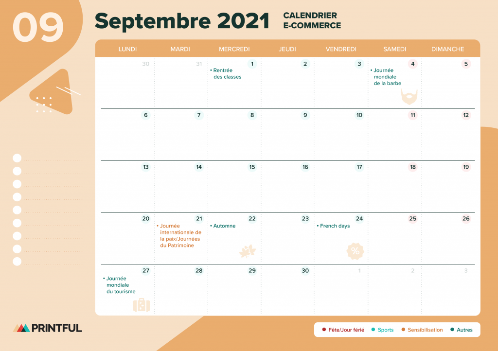 Calendrier marketing septembre 2021 : événements | Printful