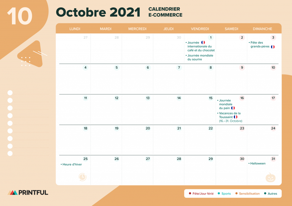 Calendrier marketing octobre 2021 : événements | Printful