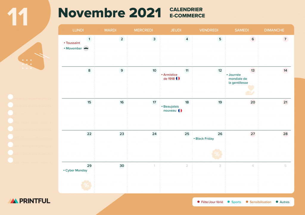 Calendrier marketing novembre 2021 : événements | Printful