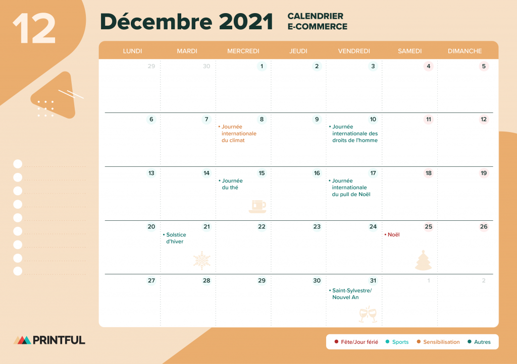 Calendrier marketing décembre 2021 : événements | Printful