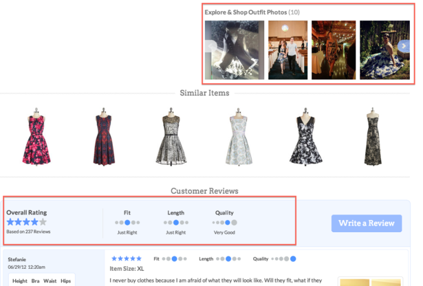 modcloth customer reviews section
