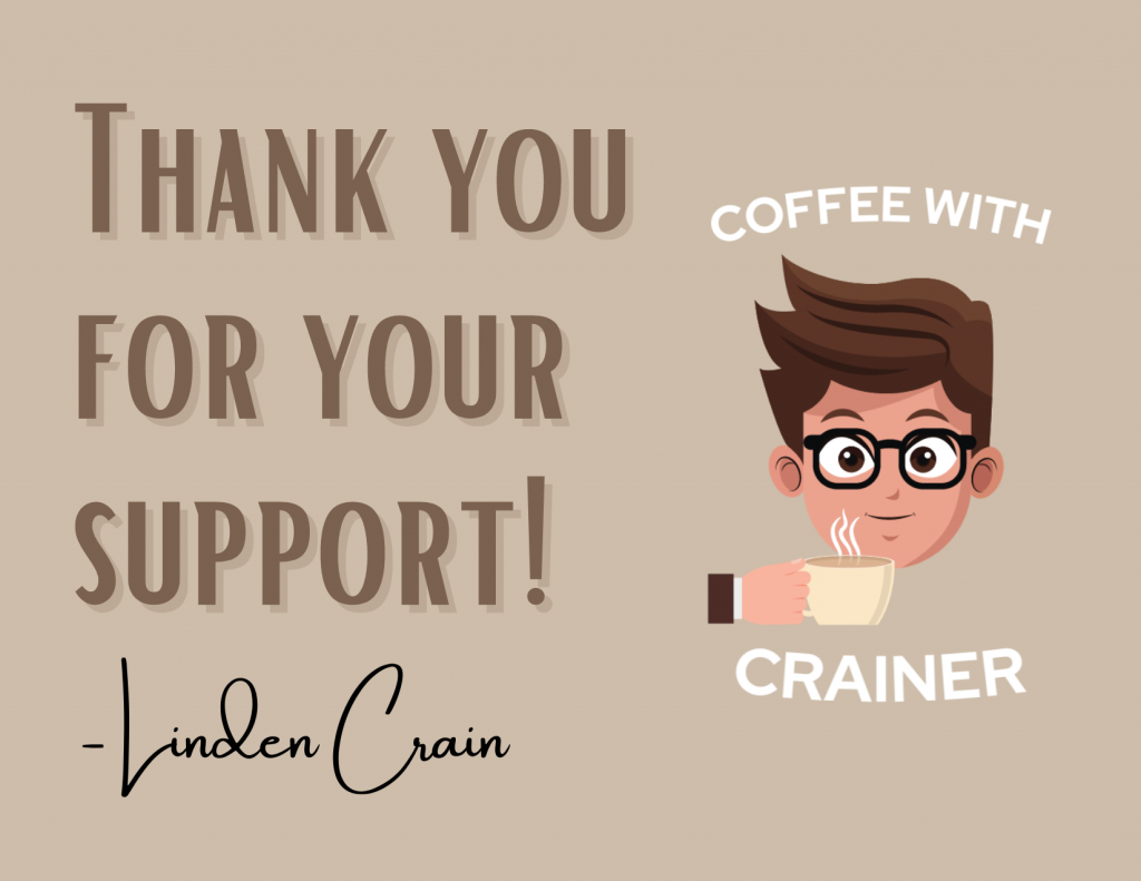 Linden Crain Coffee with Crainer packaging insert thank you note