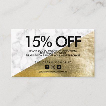 Discount code coupon packaging insert gold