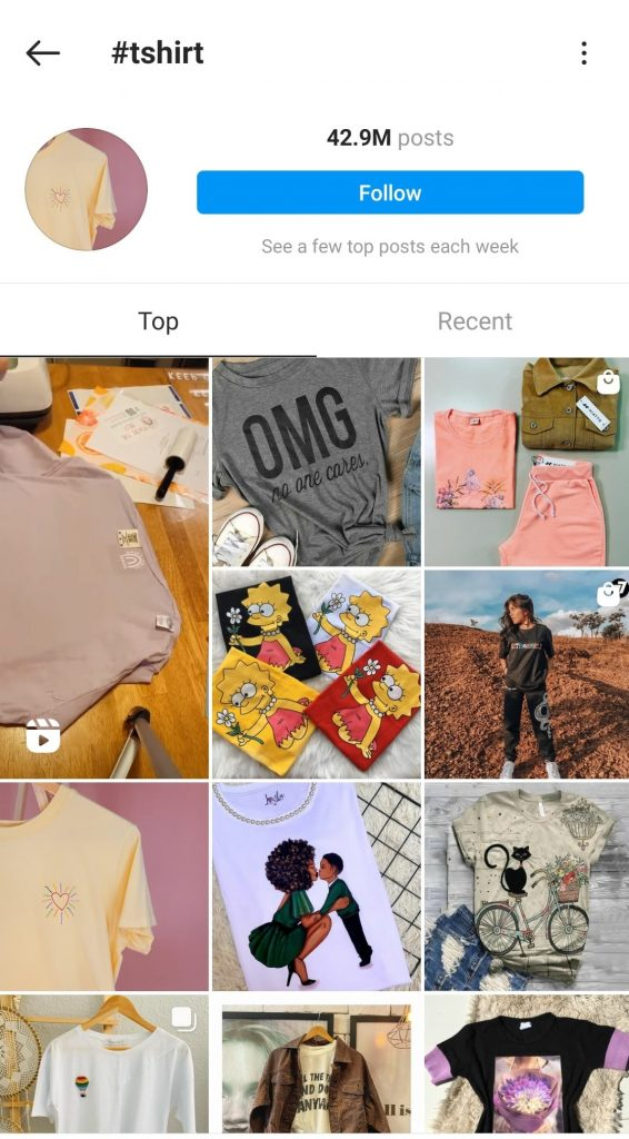 Instagram hashtags page example