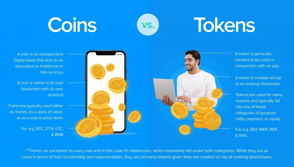 Difference between coins and tokens