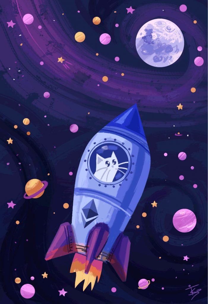 """Image of crypto art """"Space cat"""""""