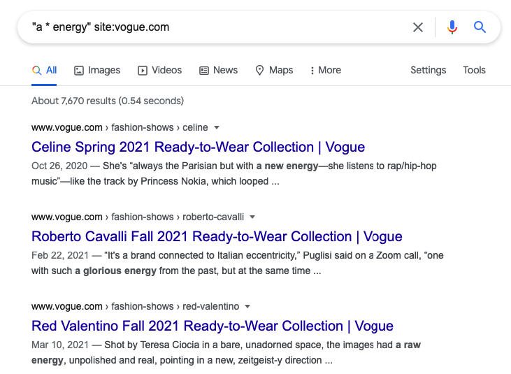 Google search results for the word energy in vogue.com